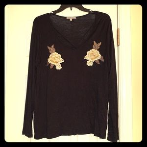 Floral embroidered long sleeve top